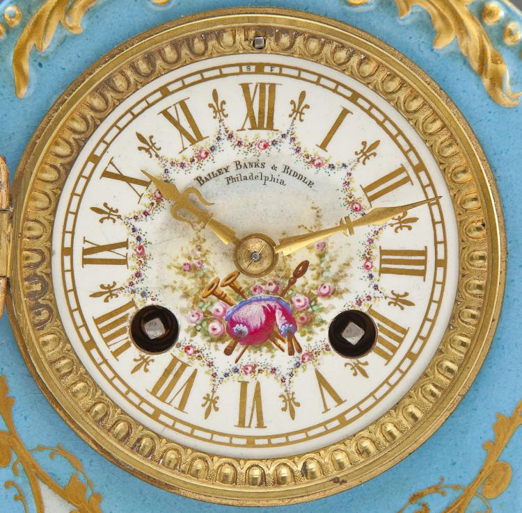 Bailey Banks Biddle French Porcelain Mantle Clock Mougin