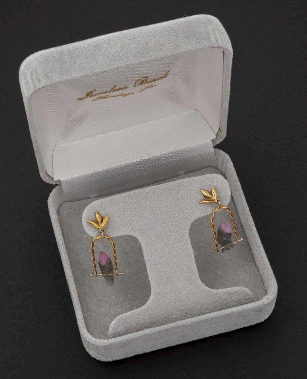 14k Tourmaline Parrot Earrings