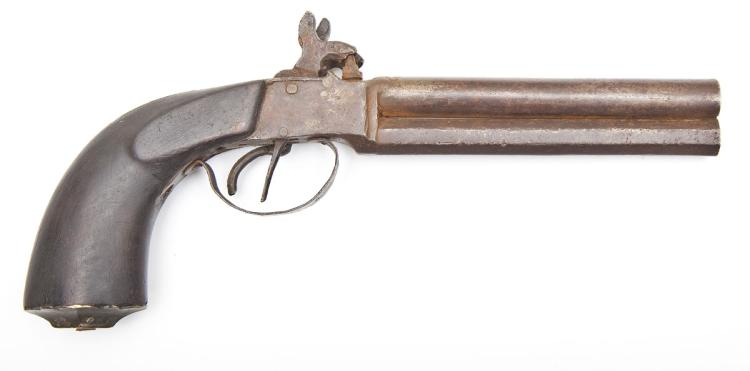 Twin Hammered Double Barrel Percussion Pistol