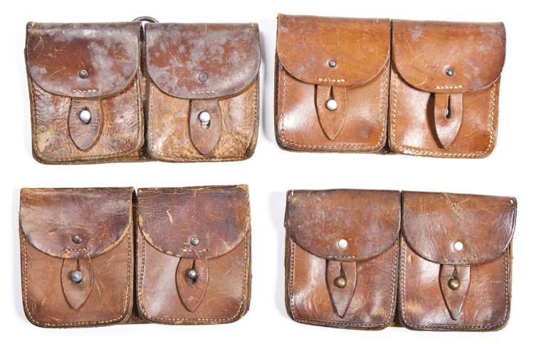 4 WWII Era French Leather Double Ammo Pouches