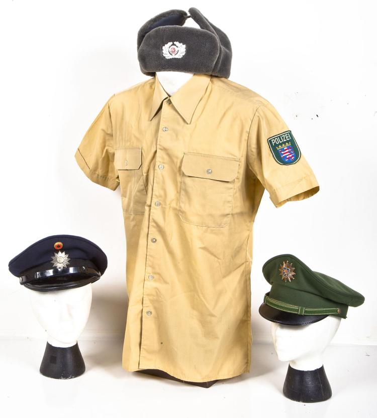 3 German Police Caps & 1 Short Sleeve Shirt