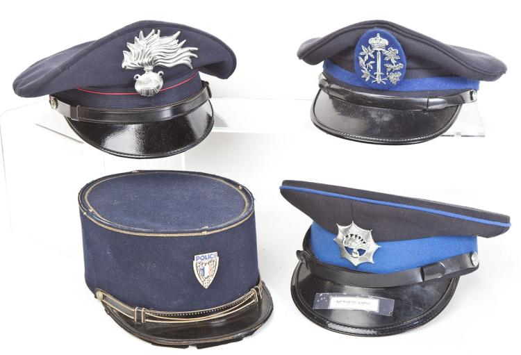 4 European Police Caps Inc. Italy & Belgium
