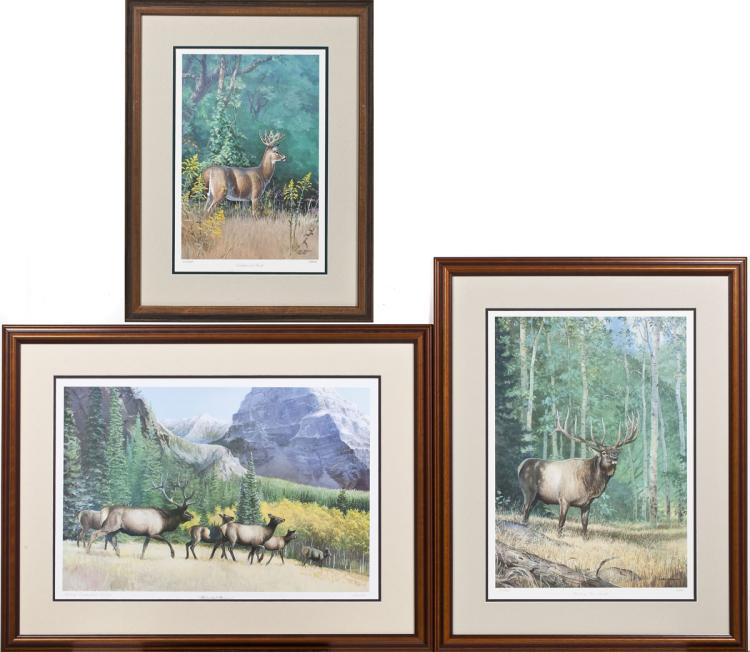 3 Ned Smith Ltd. Ed. Framed Lithographs Deer & Elk