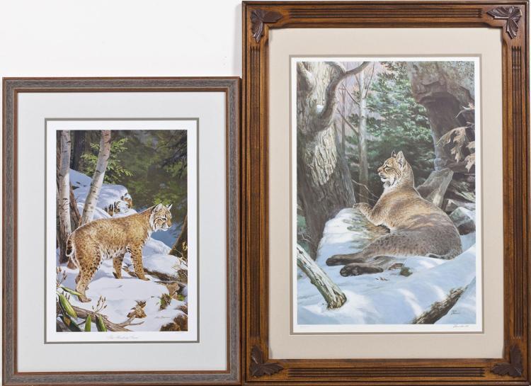 2 Ned Smith Ltd Ed. Framed Lithographs of Lynx