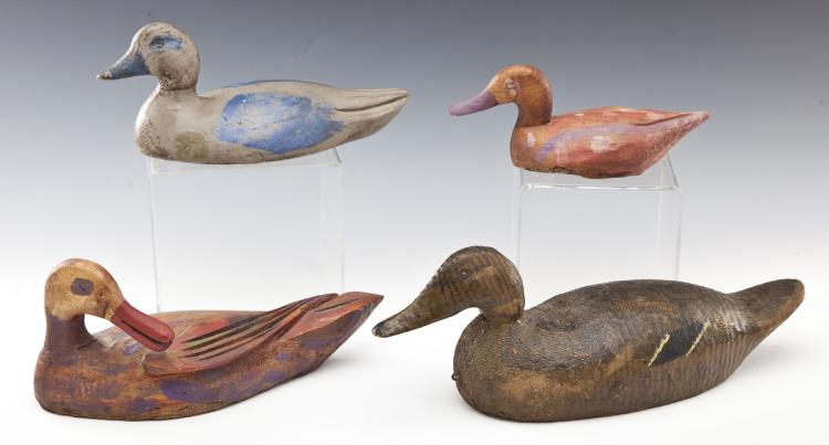 Group of 4 Flat Bottom Decorative Decoys