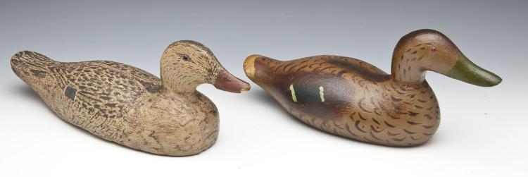 Pair Hand Carved & Painted Duck Decoys