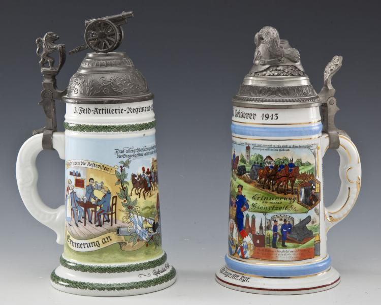 Group of 2 Reproduction Regimental Steins