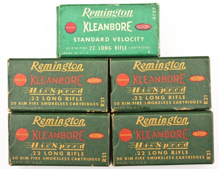5 Boxes Vintage Remington .22 Caliber Ammunition