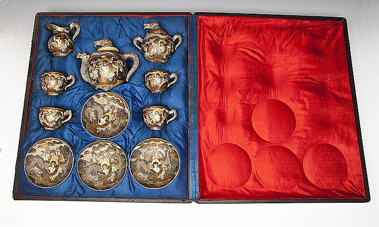 Kyoto Satsuma Dragonware Tea Set Meiji Period