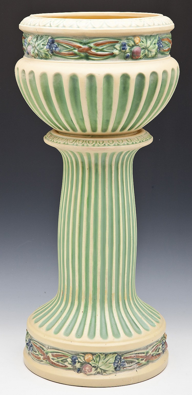 Roseville Corinthian Jardiniere And Pedestal