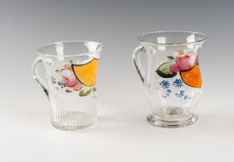 2 Hand Blown & Enameled Glass Cups