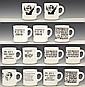 Set of 13 Nixon/Watergate Political Cartoon Mugs
