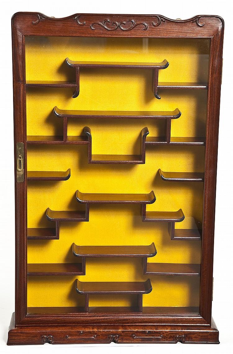 Japanese Hardwood Netsuke Display Cabinet