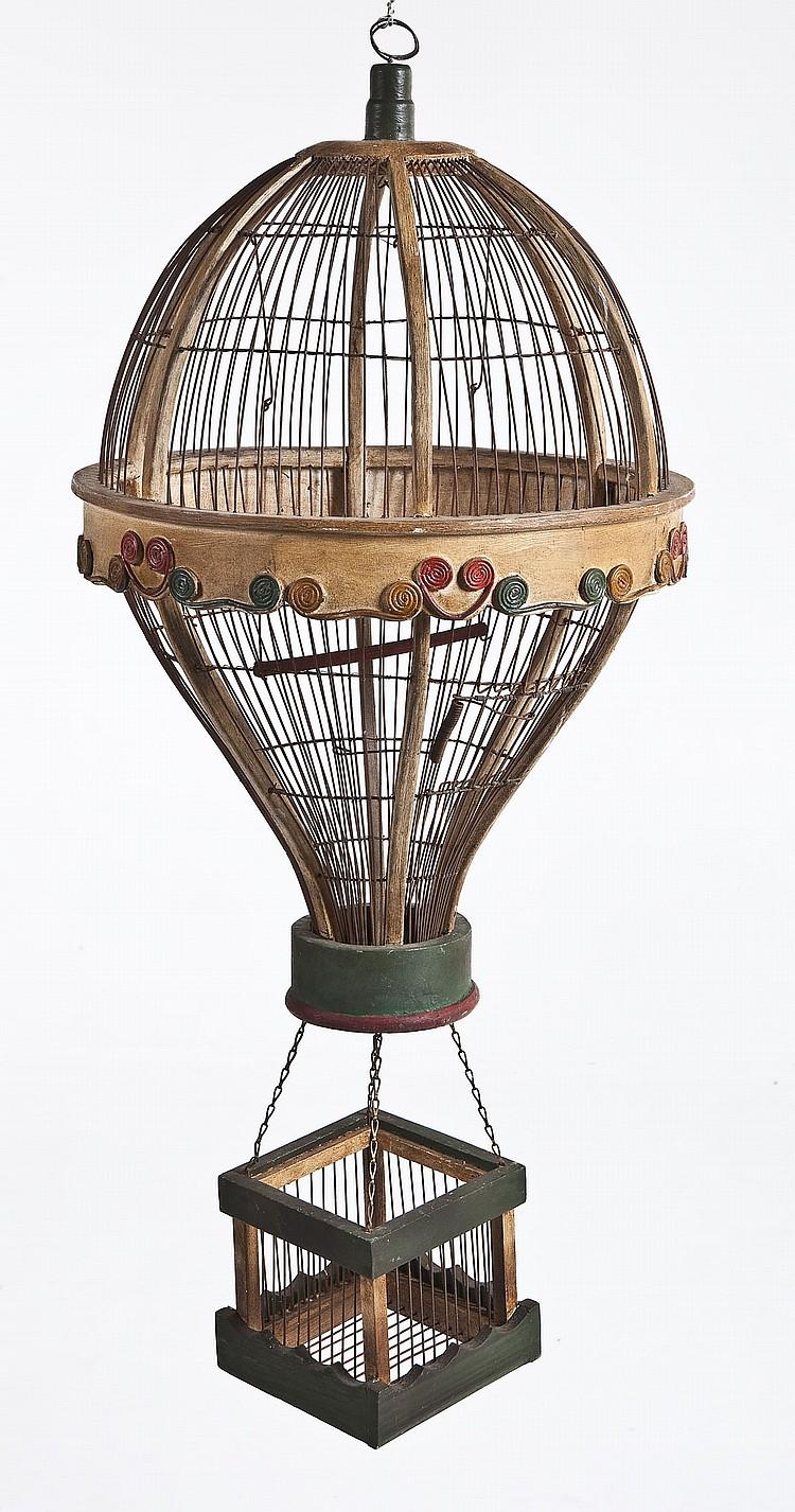 Antique Hanging Hot Air Balloon Bird Cage