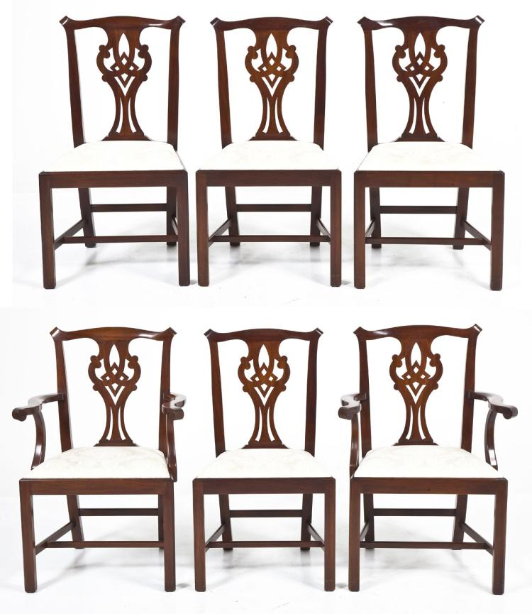 Henkel Harris Dining Room Furniture: 6 Henkel Harris Chippendale Dining Chairs