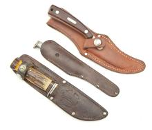 Group of 3 Sheathed Hunting Knives