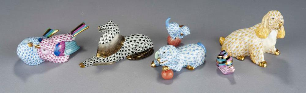 6 Herend Animals incl Dogs & Birds
