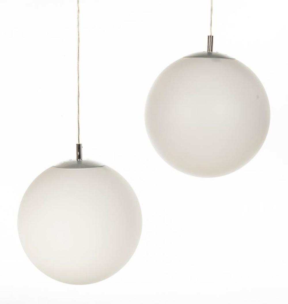 Pair modern sphere pendant lights