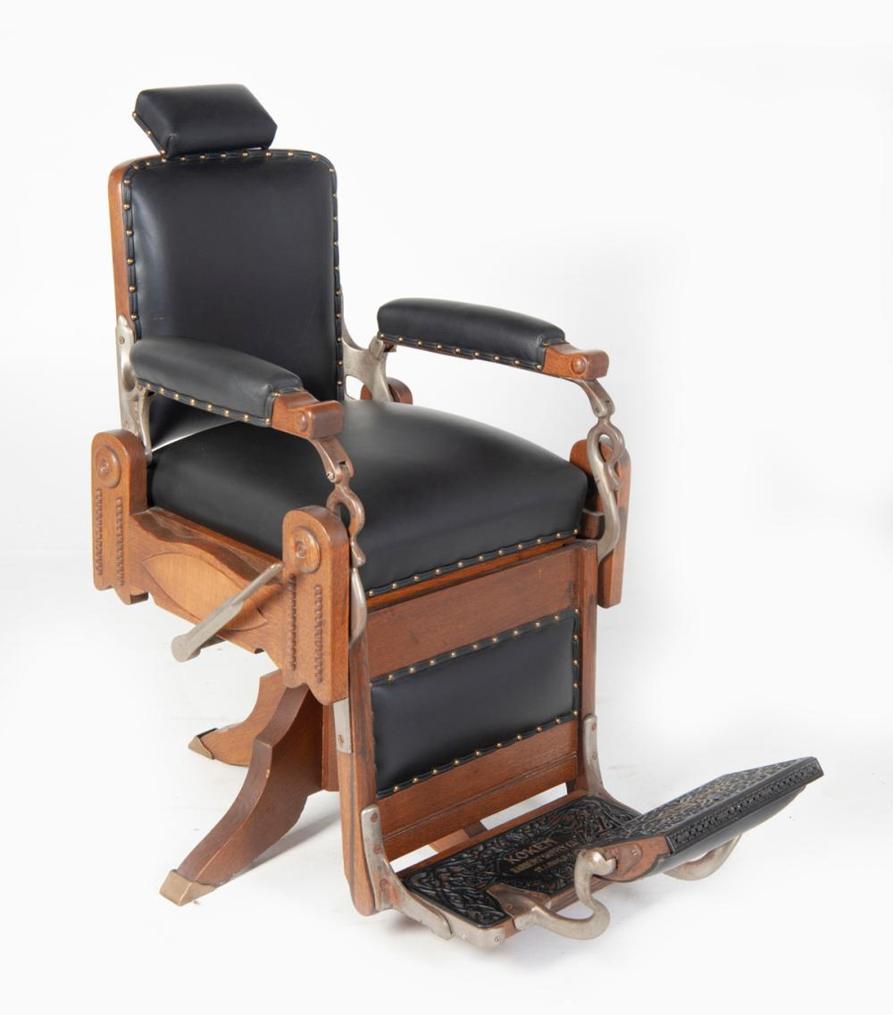 Sold Price Koken Oak And Leather Barber Chair Invalid Date Est