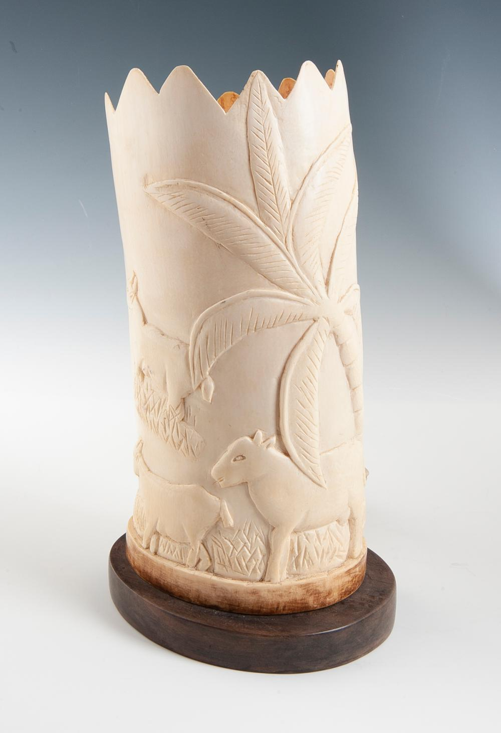 Carved Bone Table Lamp