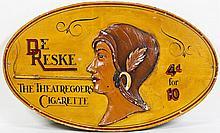De Reszke Cigarettes Carved Wood Advertising Sign