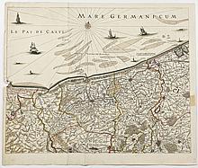 Antique Map Dunkirk & Ypres Belgium
