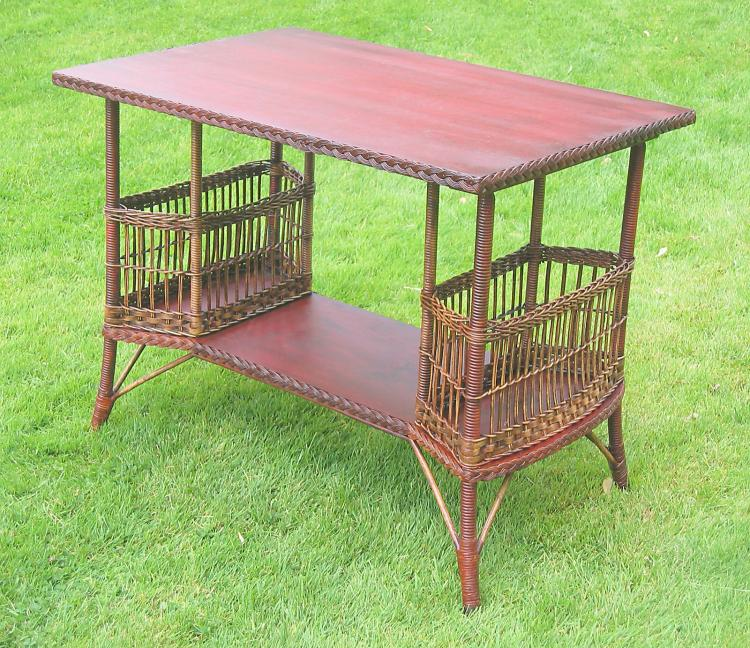 Heywood-Wakefield Wicker Side Table #4455