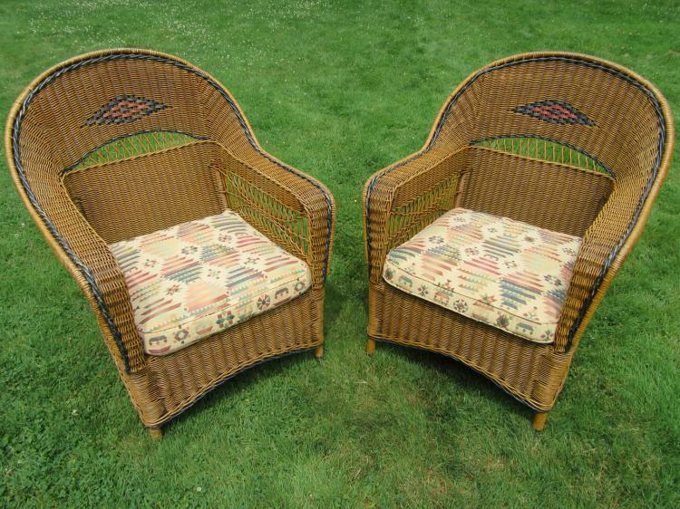 Matching Pair Art Deco Armchairs #3777