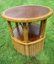 Art Deco Wicker End Table #4579