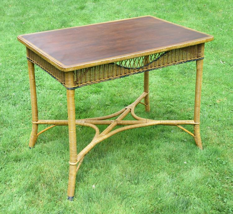 Art Deco Wicker Table #4575