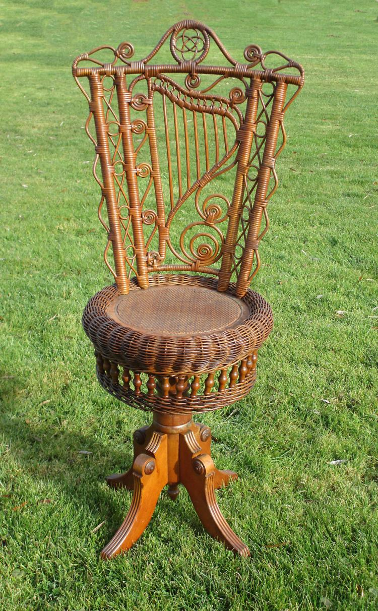 Revolving Wicker Piano Stool #3663