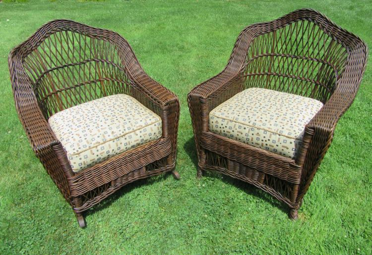 Matching Pair Bar Harbor Wicker Chair & Rocker #3789