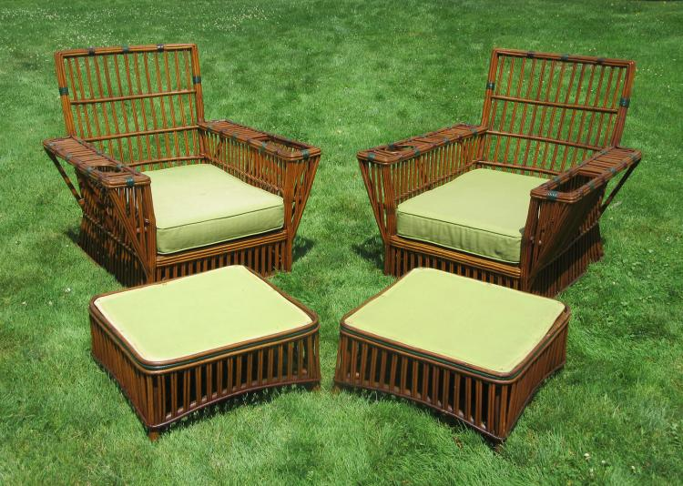 Matching Pair Stick Wicker Armchairs & Ottomans #3774