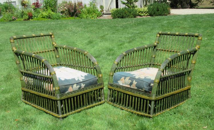 Matching Pair Stick Wicker Armchairs #3750