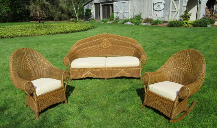 Three-Piece Art Deco Wicker Set #6876