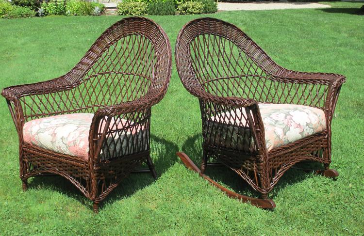 Matching Pair Bar Harbor Wicker Chair & Rocker #3636