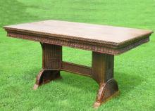 Art Deco Wicker Library/Dining Table #4471