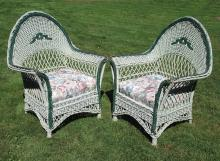 Matching Pair Wicker Armchairs #3468