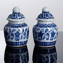 PAIR OF SMALL POTS WITH COVER