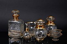 SET OF FOUR FLASKS AND FIVE BOWLS