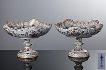 PAIR OFLOBED FRUIT BOWLS WITH A FOOT
