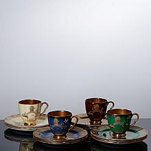 CARLTON WARE - SET OF TWELVE CUPS AND PLATES FOR CAKE