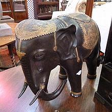 Twentieth century large metal elephant, with gilt