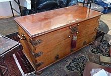 Twentieth century light wood coffer, brass handles