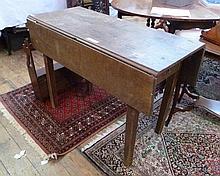 Oak Pembroke table on tapering supports, 107cm