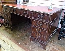 Edwardian mahogany directors desk, with inset red