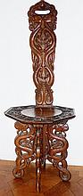 Chinese hardwood carved chair, serpent carved and