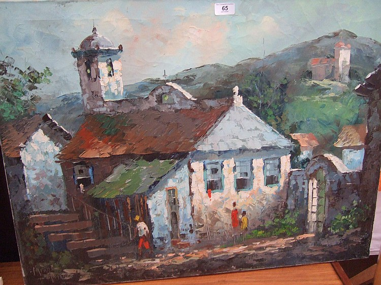 OIL ON CANVAS Pablo Matania Caribbean scene of