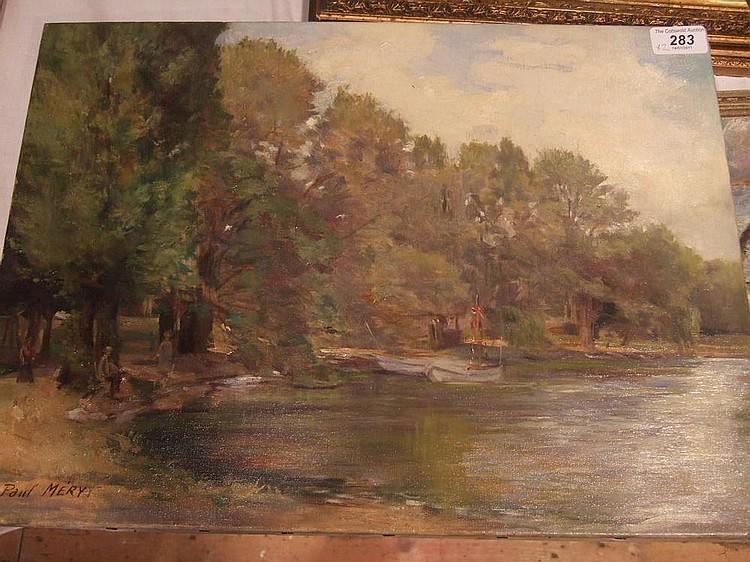 Oil on canvas Paul Mery (1850-?) Figures on