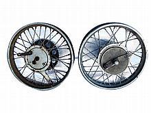 Set of motorcycle wheels c1950's